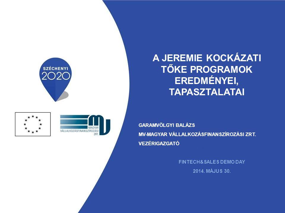 JEREMIE PROGRAM ( JOINT EUROPEAN RESOURCES FOR MICRO TO MEDIUM ENTERPRISES ) JEREMIE PROGRAM ( JOINT EUROPEAN RESOURCES FOR MICRO TO MEDIUM ENTERPRISES ) Uniós, visszatérítendő támogatási program piaci elégtelenségek enyhítésére  Rendelkezésre álló forrás: 246 milliárd Ft-ot meghaladó keret (80%-os kihasználtság)  Kihelyezés közvetítők bevonásával  Alapszerű működés (visszaforgó és újra kihelyezhető források)  Közel 18 ezer szerződött ügylet Refinanszírozott hitelprogramok (Kombinált Mikrohitel, Új Széchenyi Hitel) Kezességvállalás, hitelgarancia és viszontgarancia program Kockázati tőke programok