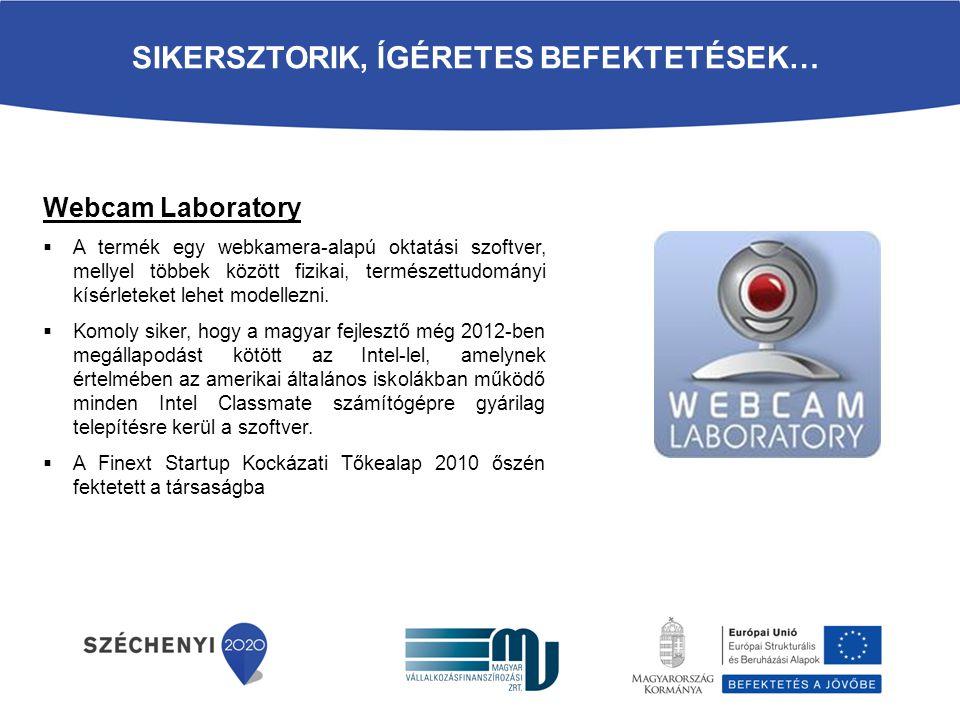 SIKERSZTORIK, ÍGÉRETES BEFEKTETÉSEK… Webcam Laboratory  A termék egy webkamera-alapú oktatási szoftver, mellyel többek között fizikai, természettudom