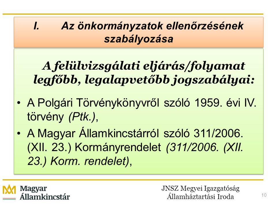 JNSZ Megyei Igazgatóság Államháztartási Iroda 10 A felülvizsgálati eljárás/folyamat legfőbb, legalapvetőbb jogszabályai: •A Polgári Törvénykönyvről sz