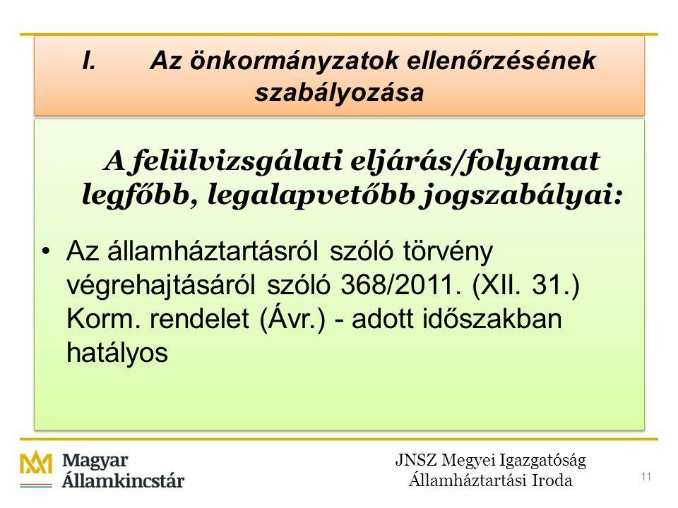 JNSZ Megyei Igazgatóság Államháztartási Iroda 11 A felülvizsgálati eljárás/folyamat legfőbb, legalapvetőbb jogszabályai: •Az államháztartásról szóló t