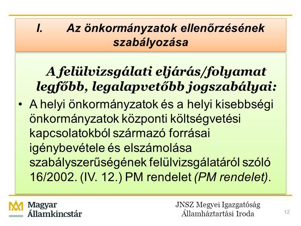 JNSZ Megyei Igazgatóság Államháztartási Iroda 12 A felülvizsgálati eljárás/folyamat legfőbb, legalapvetőbb jogszabályai: •A helyi önkormányzatok és a