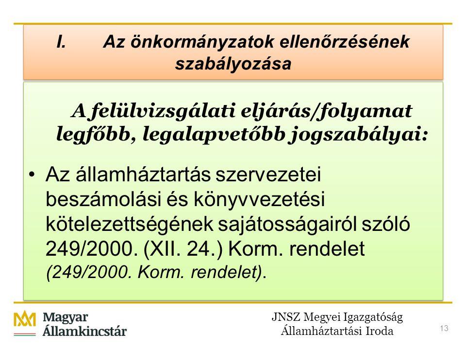 JNSZ Megyei Igazgatóság Államháztartási Iroda 13 A felülvizsgálati eljárás/folyamat legfőbb, legalapvetőbb jogszabályai: •Az államháztartás szervezete
