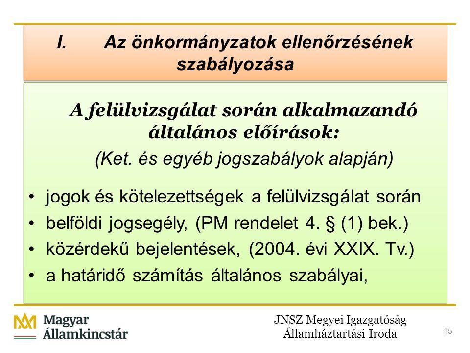 JNSZ Megyei Igazgatóság Államháztartási Iroda 15 I.Az önkormányzatok ellenőrzésének szabályozása A felülvizsgálat során alkalmazandó általános előírás
