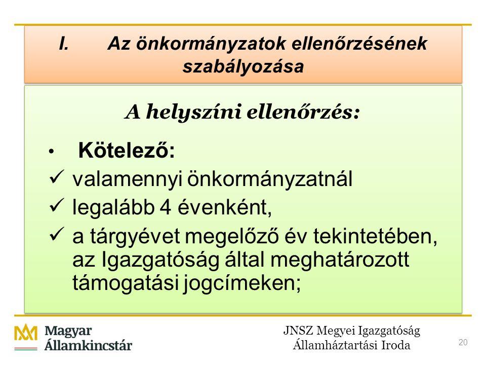 JNSZ Megyei Igazgatóság Államháztartási Iroda 20 I. Az önkormányzatok ellenőrzésének szabályozása A helyszíni ellenőrzés: • Kötelező:  valamennyi önk