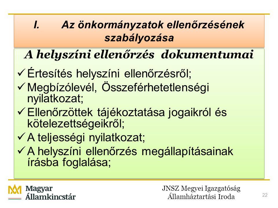 JNSZ Megyei Igazgatóság Államháztartási Iroda 22 I. Az önkormányzatok ellenőrzésének szabályozása A helyszíni ellenőrzés dokumentumai  Értesítés hely