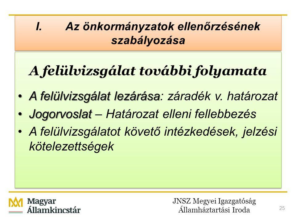 JNSZ Megyei Igazgatóság Államháztartási Iroda 25 I. Az önkormányzatok ellenőrzésének szabályozása A felülvizsgálat további folyamata •A felülvizsgálat