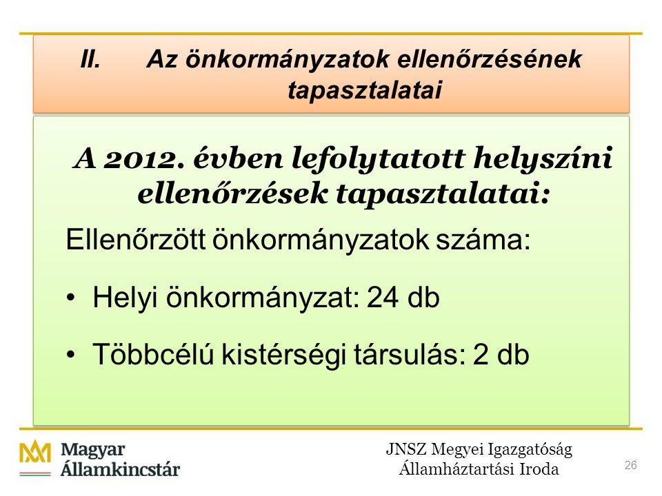 JNSZ Megyei Igazgatóság Államháztartási Iroda 26 II. Az önkormányzatok ellenőrzésének tapasztalatai A 2012. évben lefolytatott helyszíni ellenőrzések
