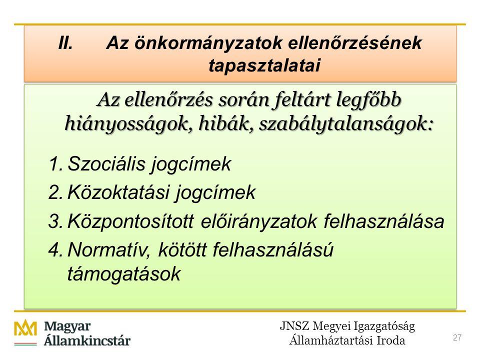 JNSZ Megyei Igazgatóság Államháztartási Iroda 27 II. Az önkormányzatok ellenőrzésének tapasztalatai Az ellenőrzés során feltárt legfőbb hiányosságok,