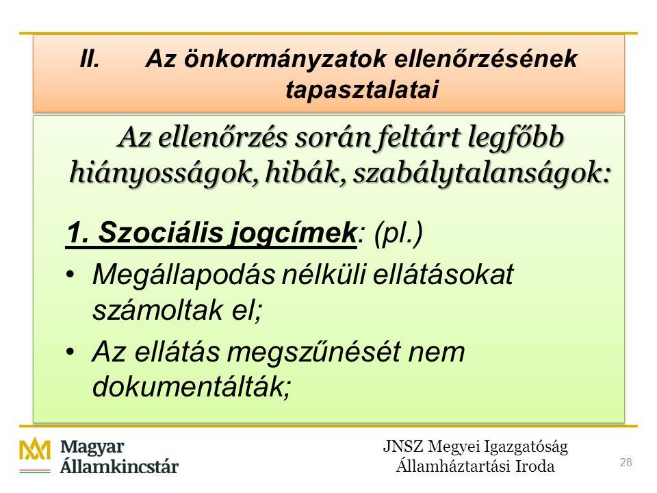 JNSZ Megyei Igazgatóság Államháztartási Iroda 28 II. Az önkormányzatok ellenőrzésének tapasztalatai Az ellenőrzés során feltárt legfőbb hiányosságok,