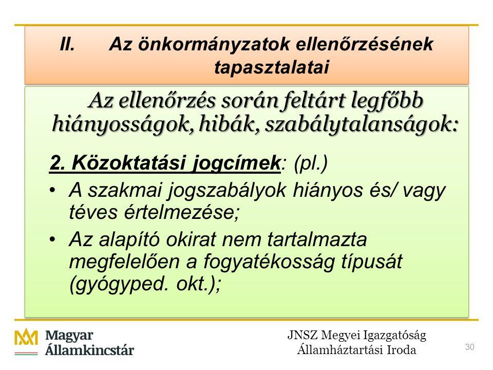 JNSZ Megyei Igazgatóság Államháztartási Iroda 30 II. Az önkormányzatok ellenőrzésének tapasztalatai Az ellenőrzés során feltárt legfőbb hiányosságok,