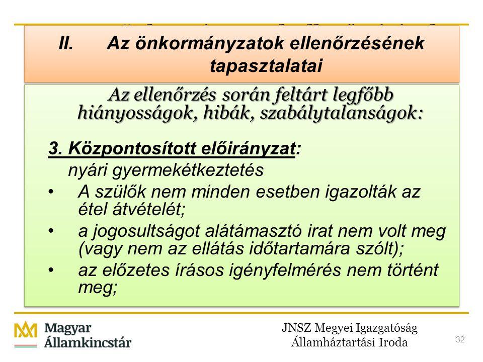 JNSZ Megyei Igazgatóság Államháztartási Iroda 32 II. Az önkormányzatok ellenőrzésének tapasztalatai Az ellenőrzés során feltárt legfőbb hiányosságok,