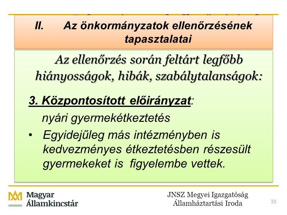 JNSZ Megyei Igazgatóság Államháztartási Iroda 33 II. Az önkormányzatok ellenőrzésének tapasztalatai Az ellenőrzés során feltárt legfőbb hiányosságok,