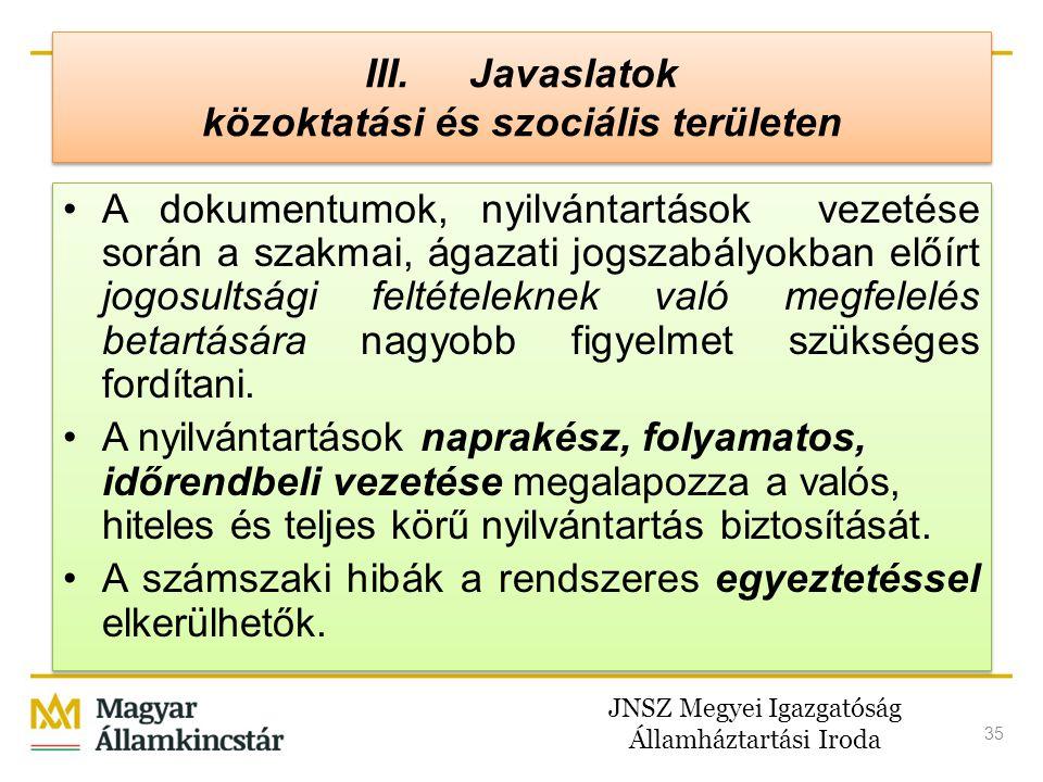 JNSZ Megyei Igazgatóság Államháztartási Iroda 35 III. Javaslatok közoktatási és szociális területen •A dokumentumok, nyilvántartások vezetése során a