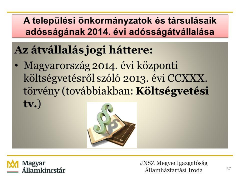 JNSZ Megyei Igazgatóság Államháztartási Iroda 37 A települési önkormányzatok és társulásaik adósságának 2014. évi adósságátvállalása Az átvállalás jog