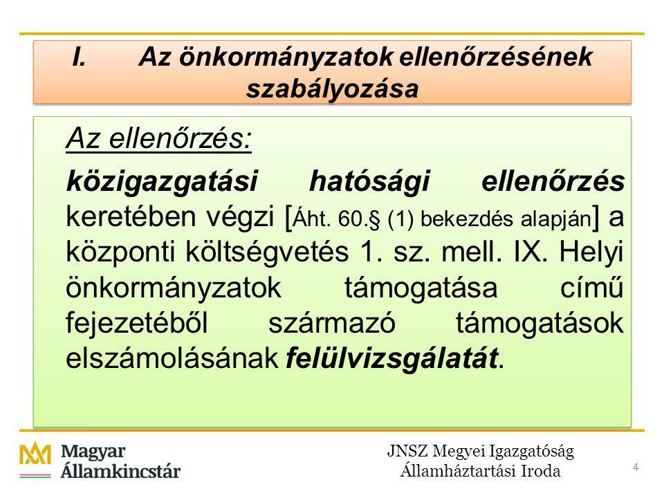 JNSZ Megyei Igazgatóság Államháztartási Iroda 4 I.Az önkormányzatok ellenőrzésének szabályozása Az ellenőrzés: közigazgatási hatósági ellenőrzés keret