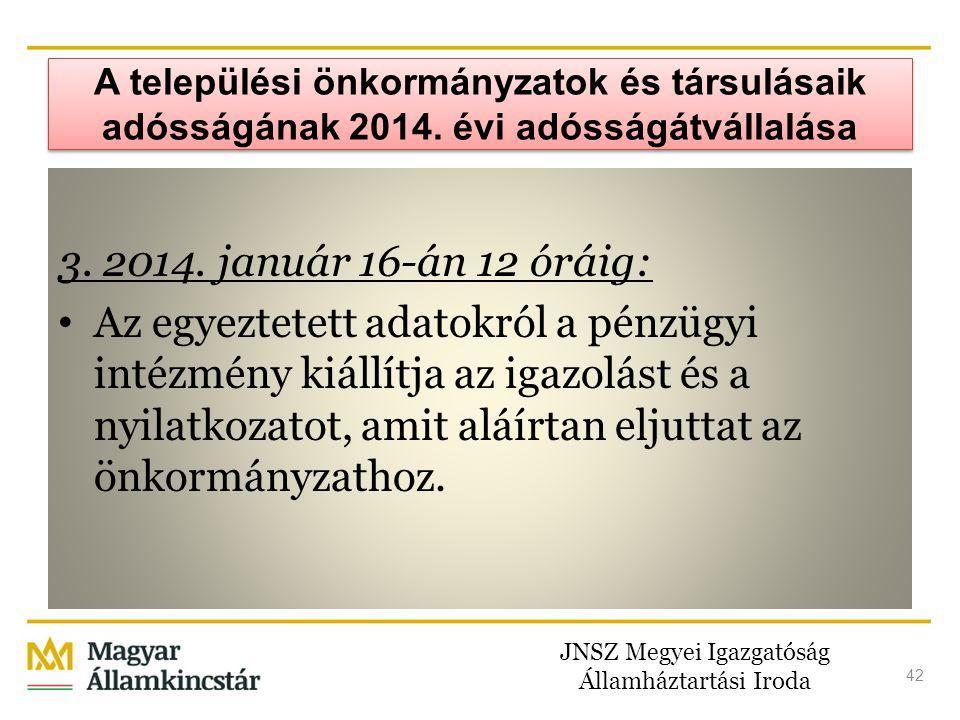 JNSZ Megyei Igazgatóság Államháztartási Iroda 42 A települési önkormányzatok és társulásaik adósságának 2014. évi adósságátvállalása 3. 2014. január 1