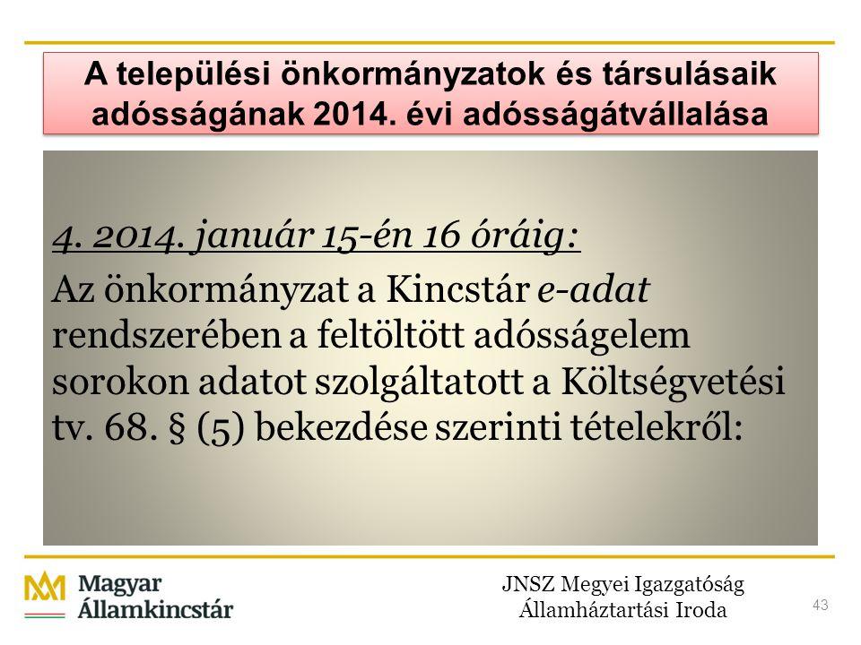 JNSZ Megyei Igazgatóság Államháztartási Iroda 43 A települési önkormányzatok és társulásaik adósságának 2014. évi adósságátvállalása 4. 2014. január 1