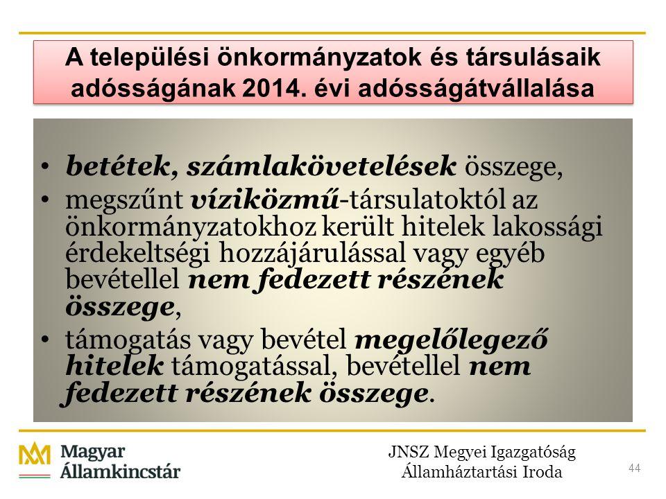 JNSZ Megyei Igazgatóság Államháztartási Iroda 44 A települési önkormányzatok és társulásaik adósságának 2014. évi adósságátvállalása • betétek, számla