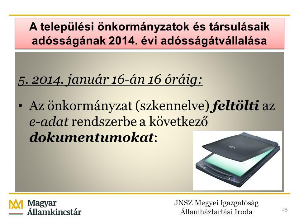 JNSZ Megyei Igazgatóság Államháztartási Iroda 45 A települési önkormányzatok és társulásaik adósságának 2014. évi adósságátvállalása 5. 2014. január 1