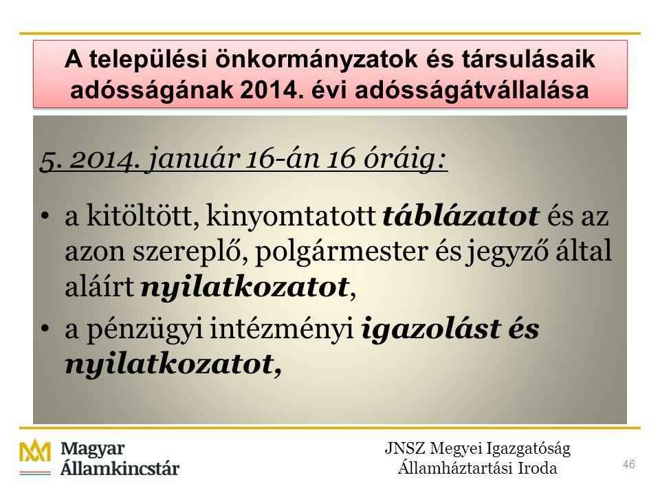 JNSZ Megyei Igazgatóság Államháztartási Iroda 46 A települési önkormányzatok és társulásaik adósságának 2014. évi adósságátvállalása 5. 2014. január 1