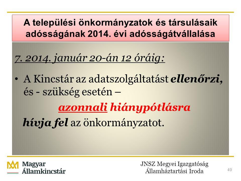 JNSZ Megyei Igazgatóság Államháztartási Iroda 49 A települési önkormányzatok és társulásaik adósságának 2014. évi adósságátvállalása 7. 2014. január 2