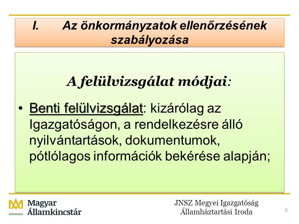 JNSZ Megyei Igazgatóság Államháztartási Iroda 5 I.Az önkormányzatok ellenőrzésének szabályozása A felülvizsgálat módjai: •Benti felülvizsgálat •Benti