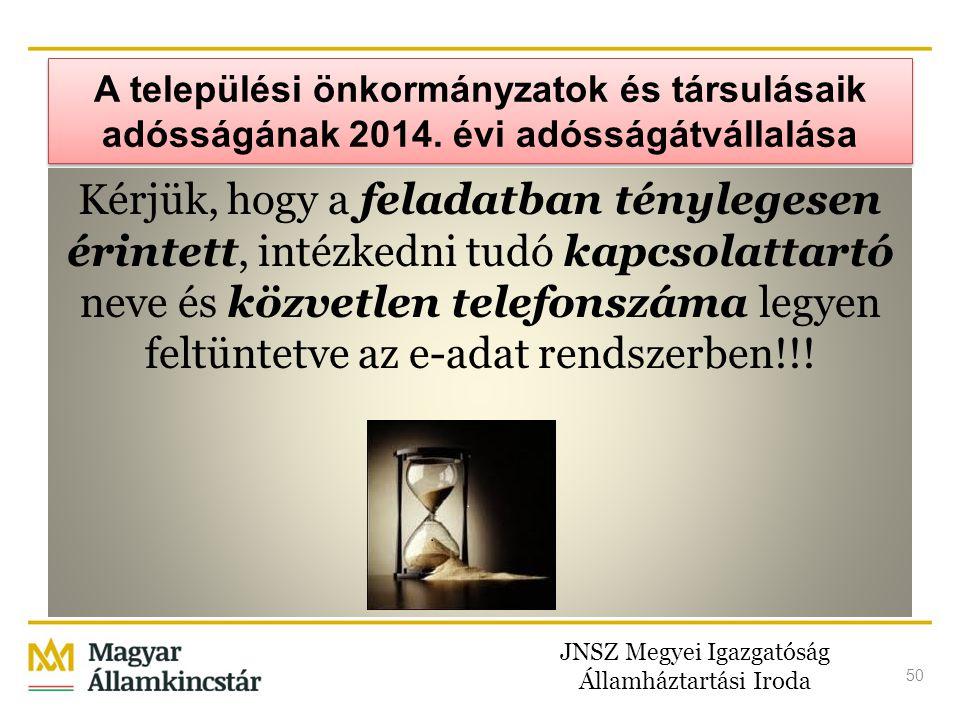 JNSZ Megyei Igazgatóság Államháztartási Iroda 50 A települési önkormányzatok és társulásaik adósságának 2014. évi adósságátvállalása Kérjük, hogy a fe
