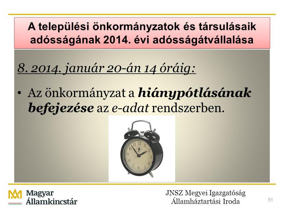 JNSZ Megyei Igazgatóság Államháztartási Iroda 51 A települési önkormányzatok és társulásaik adósságának 2014. évi adósságátvállalása 8. 2014. január 2