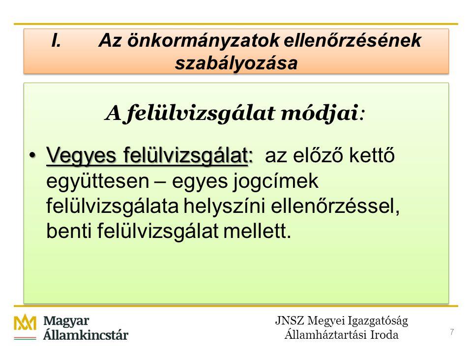 JNSZ Megyei Igazgatóság Államháztartási Iroda 18 I.Az önkormányzatok ellenőrzésének szabályozása A helyszíni ellenőrzés Célja Célja: annak megállapítása, hogy a központi költségvetés 1.