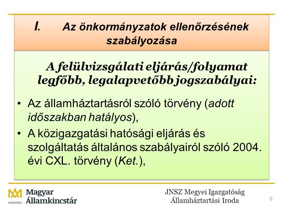 JNSZ Megyei Igazgatóság Államháztartási Iroda 9 A felülvizsgálati eljárás/folyamat legfőbb, legalapvetőbb jogszabályai: •Magyarország helyi önkormányzatairól szóló 2011.
