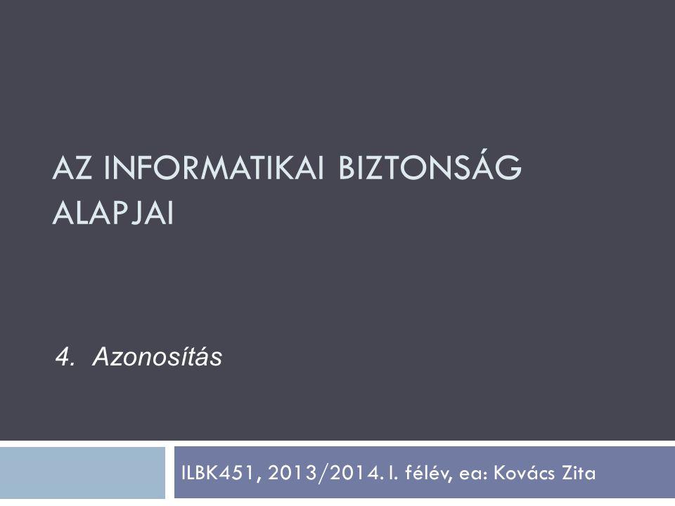 ILBK451, 2013/2014. I. félév, ea: Kovács Zita 4.Azonosítás AZ INFORMATIKAI BIZTONSÁG ALAPJAI