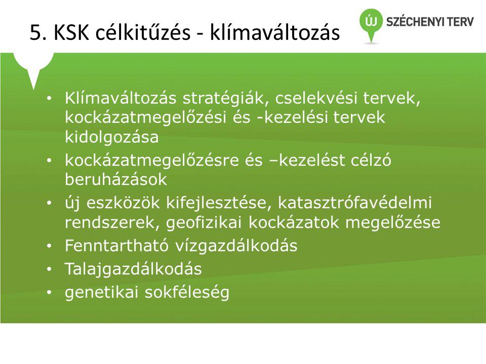 5. KSK célkitűzés - klímaváltozás • Klímaváltozás stratégiák, cselekvési tervek, kockázatmegelőzési és -kezelési tervek kidolgozása • kockázatmegelőzé