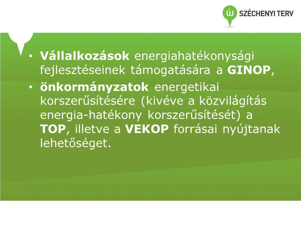 • Vállalkozások energiahatékonysági fejlesztéseinek támogatására a GINOP, • önkormányzatok energetikai korszerűsítésére (kivéve a közvilágítás energia-hatékony korszerűsítését) a TOP, illetve a VEKOP forrásai nyújtanak lehetőséget.
