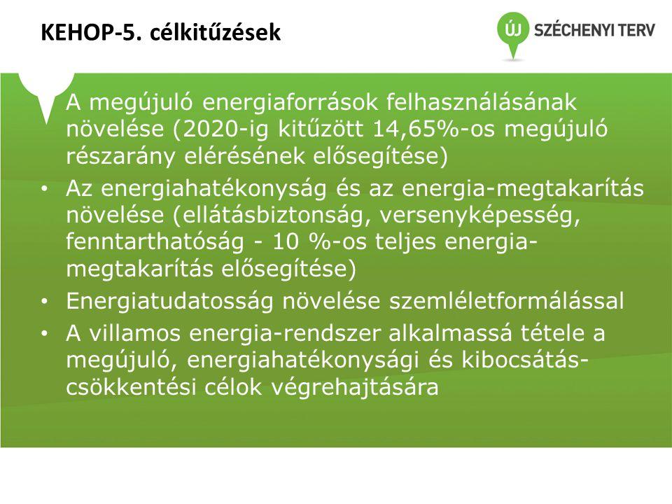 KEHOP-5. célkitűzések • A megújuló energiaforrások felhasználásának növelése (2020-ig kitűzött 14,65%-os megújuló részarány elérésének elősegítése) •