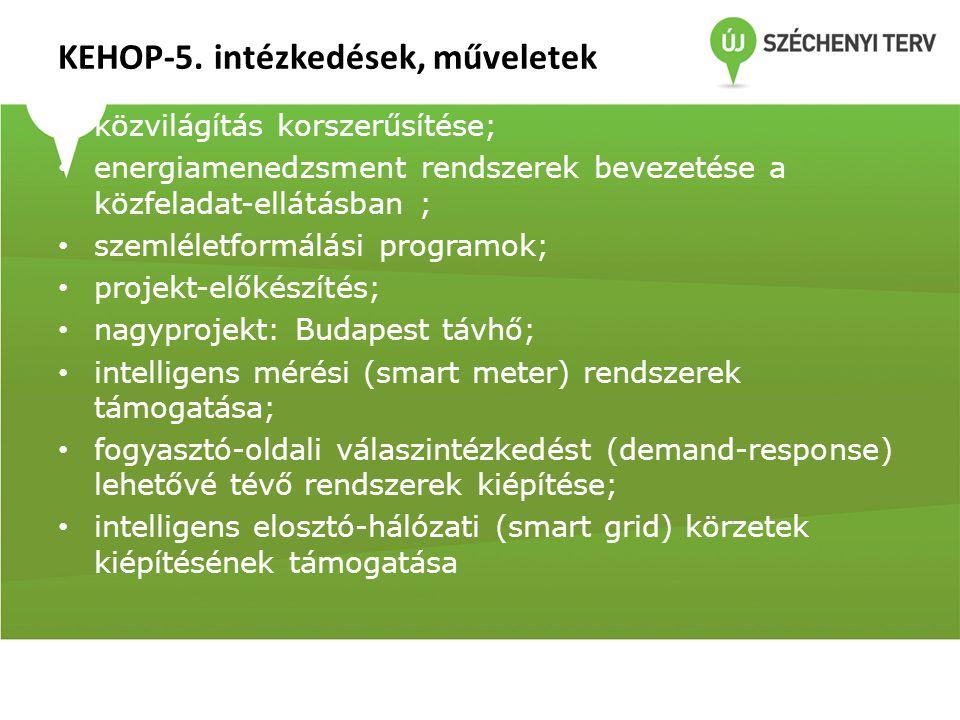 KEHOP-5. intézkedések, műveletek • közvilágítás korszerűsítése; • energiamenedzsment rendszerek bevezetése a közfeladat-ellátásban ; • szemléletformál