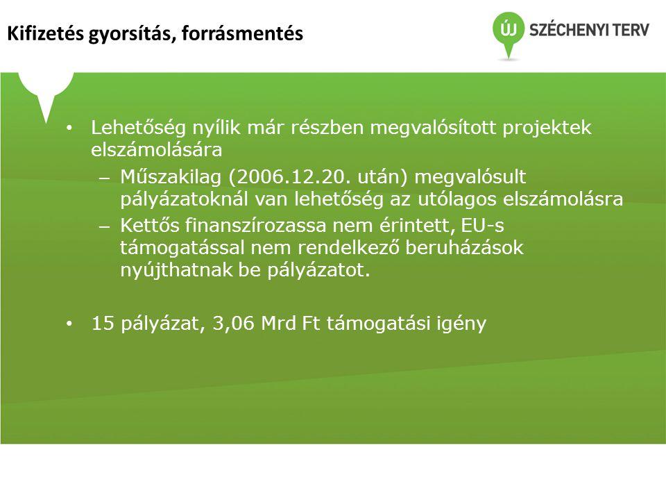 • Lehetőség nyílik már részben megvalósított projektek elszámolására – Műszakilag (2006.12.20. után) megvalósult pályázatoknál van lehetőség az utólag