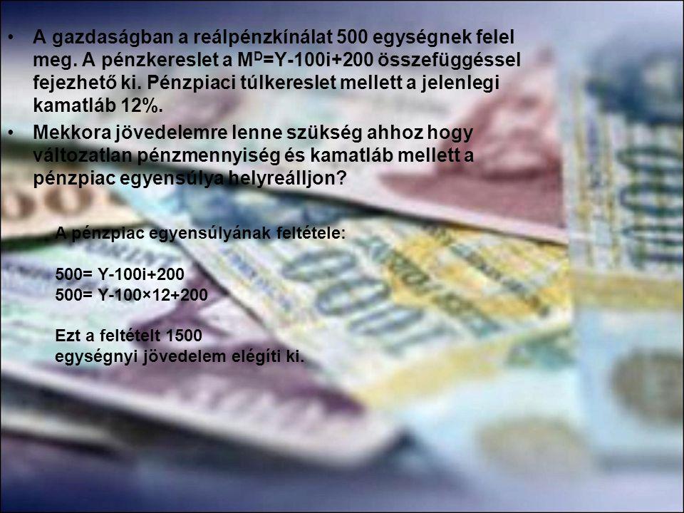 •A gazdaságban a reálpénzkínálat 500 egységnek felel meg. A pénzkereslet a M D =Y-100i+200 összefüggéssel fejezhető ki. Pénzpiaci túlkereslet mellett