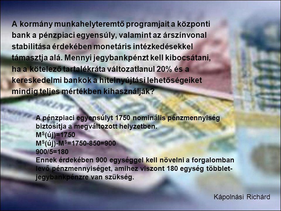 A kormány munkahelyteremtő programjait a központi bank a pénzpiaci egyensúly, valamint az árszínvonal stabilitása érdekében monetáris intézkedésekkel