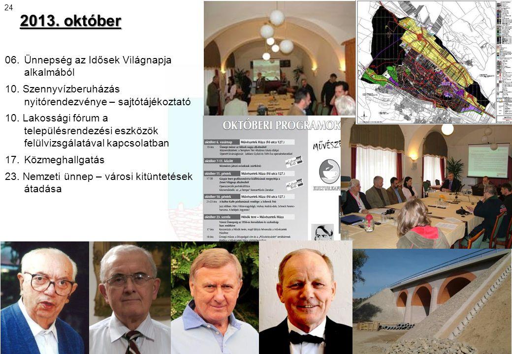 2013. október 06.Ünnepség az Idősek Világnapja alkalmából 10. Szennyvízberuházás nyitórendezvénye – sajtótájékoztató 10. Lakossági fórum a településre