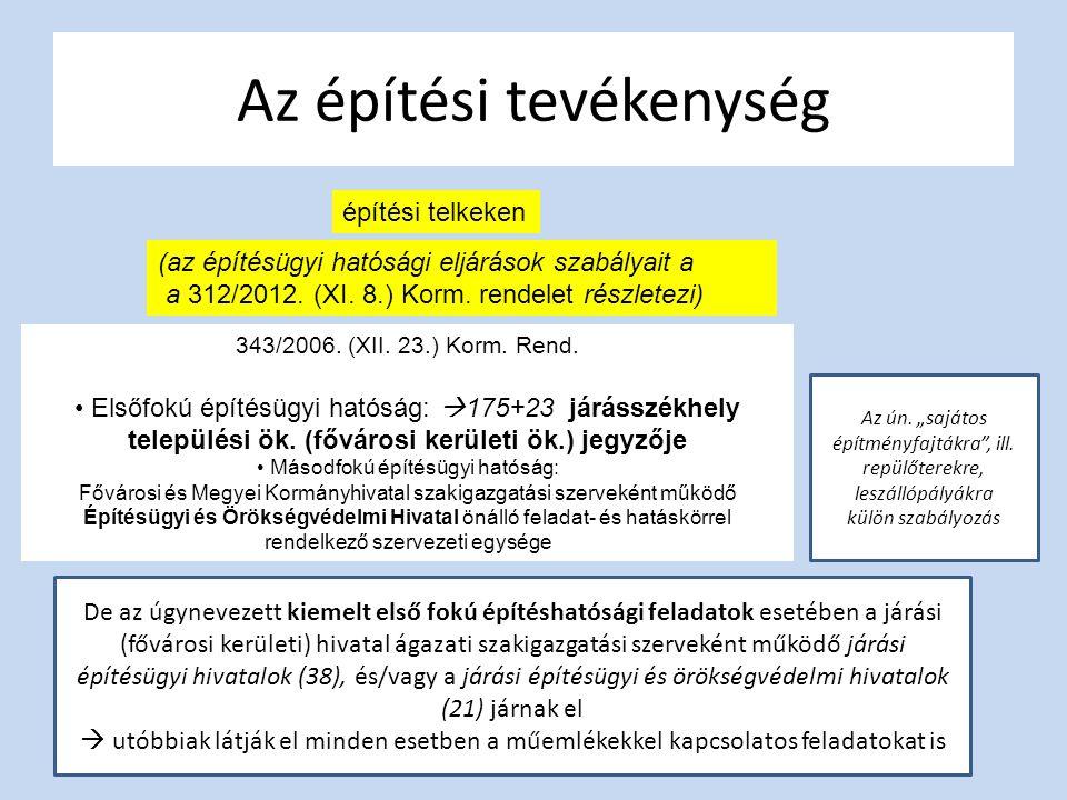 Az építési tevékenység építési telkeken (az építésügyi hatósági eljárások szabályait a a 312/2012. (XI. 8.) Korm. rendelet részletezi) 343/2006. (XII.