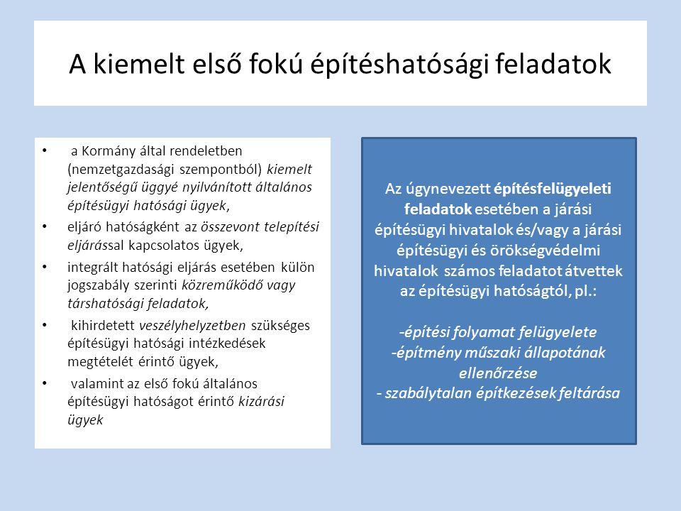 • a Kormány által rendeletben (nemzetgazdasági szempontból) kiemelt jelentőségű üggyé nyilvánított általános építésügyi hatósági ügyek, • eljáró hatós