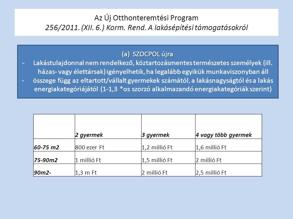 Az Új Otthonteremtési Program 256/2011. (XII. 6.) Korm. Rend. A lakásépítési támogatásokról 2 gyermek3 gyermek4 vagy több gyermek 60-75 m2800 ezer Ft1
