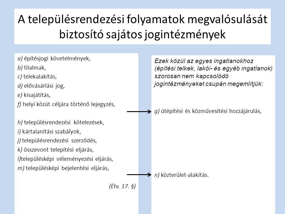 A településrendezési folyamatok megvalósulását biztosító sajátos jogintézmények a) építésjogi követelmények, b) tilalmak, c) telekalakítás, d) elővásá