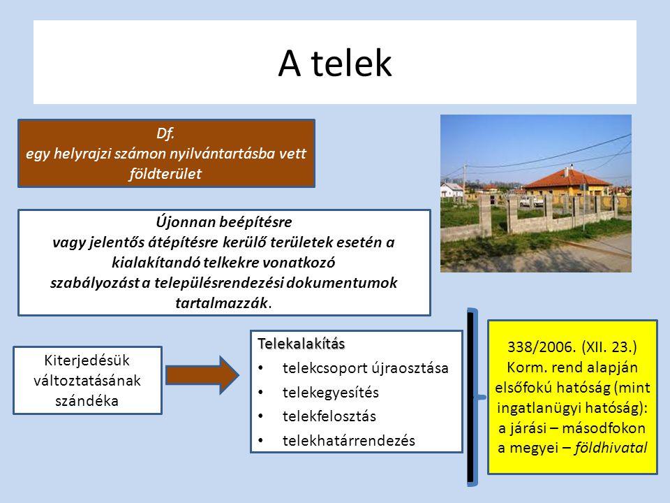 A telek Df. egy helyrajzi számon nyilvántartásba vett földterület Újonnan beépítésre vagy jelentős átépítésre kerülő területek esetén a kialakítandó t