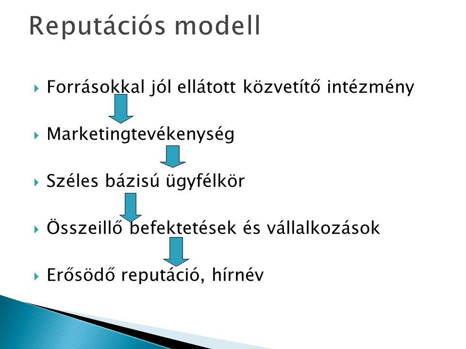 Forrásokkal jól ellátott közvetítő intézmény  Marketingtevékenység  Széles bázisú ügyfélkör  Összeillő befektetések és vállalkozások  Erősödő re