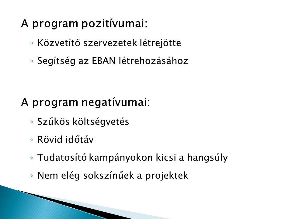 A program pozitívumai: ◦ Közvetítő szervezetek létrejötte ◦ Segítség az EBAN létrehozásához A program negatívumai: ◦ Szűkös költségvetés ◦ Rövid időtá