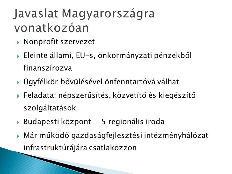 Javaslat Magyarországra vonatkozóan  Nonprofit szervezet  Eleinte állami, EU-s, önkormányzati pénzekből finanszírozva  Ügyfélkör bővülésével önfenn