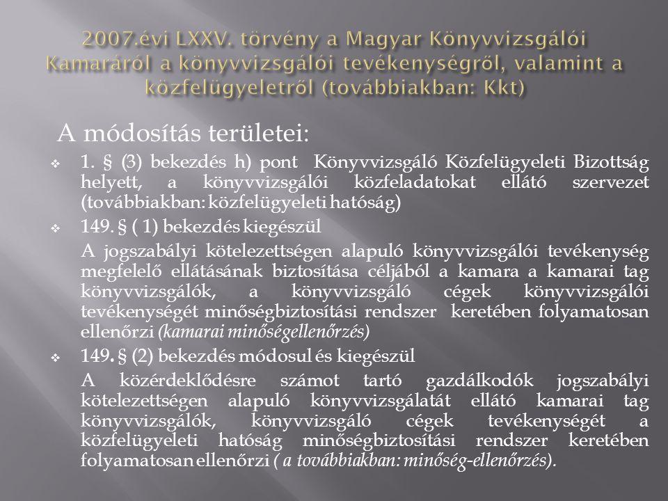 A módosítás területei:  1. § (3) bekezdés h) pont Könyvvizsgáló Közfelügyeleti Bizottság helyett, a könyvvizsgálói közfeladatokat ellátó szervezet (t