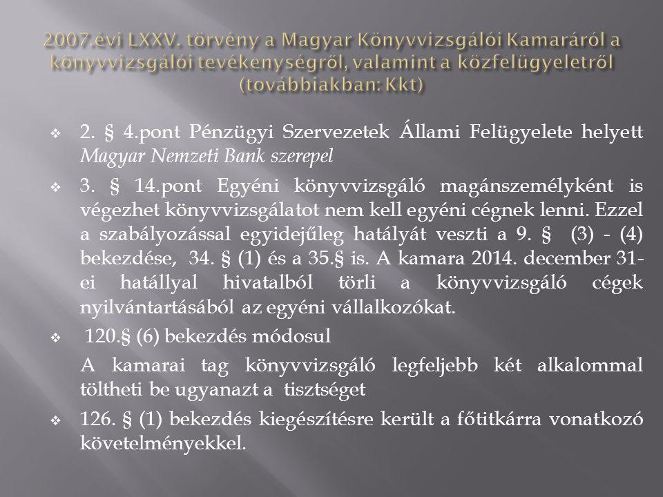  2. § 4.pont Pénzügyi Szervezetek Állami Felügyelete helyett Magyar Nemzeti Bank szerepel  3. § 14.pont Egyéni könyvvizsgáló magánszemélyként is vég