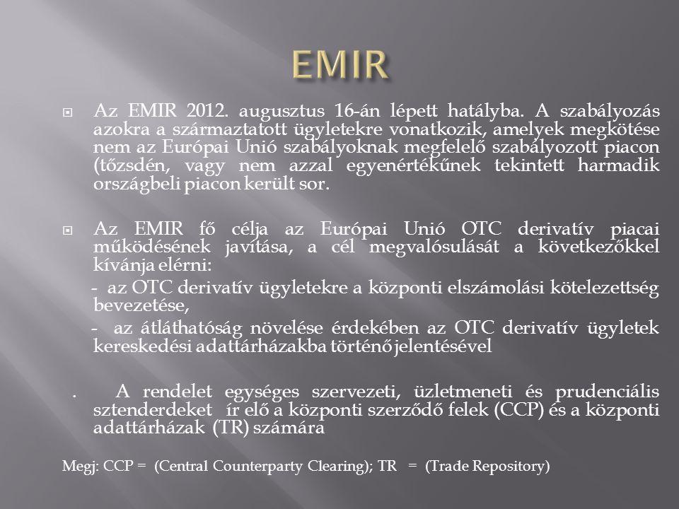  Az EMIR 2012. augusztus 16-án lépett hatályba. A szabályozás azokra a származtatott ügyletekre vonatkozik, amelyek megkötése nem az Európai Unió sza